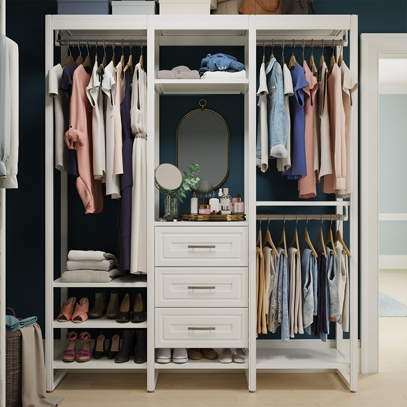 6-foot traditional system in walk-in closet with navy walls