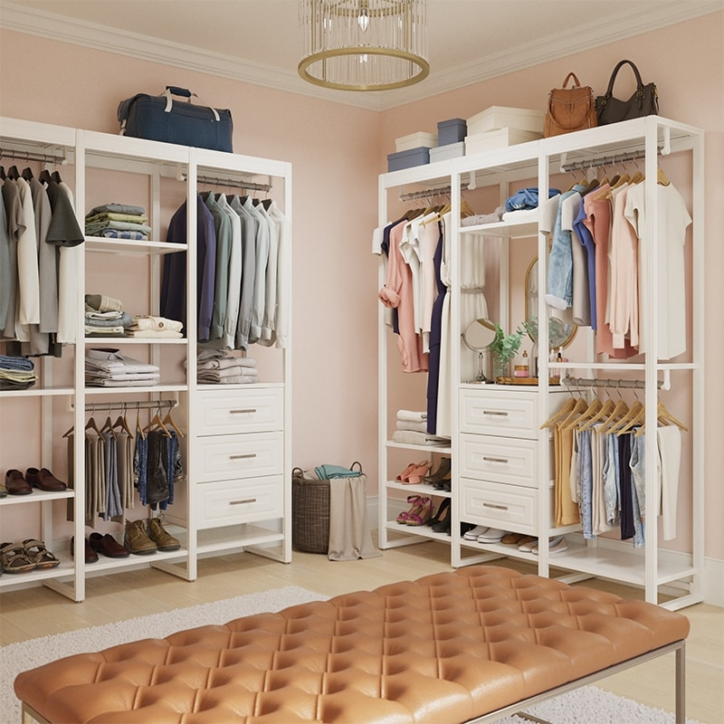6-foot walk-in closet system with pale pink walls and bench