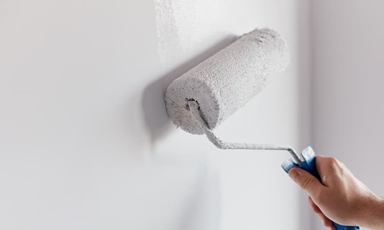 rolling paint onto wall
