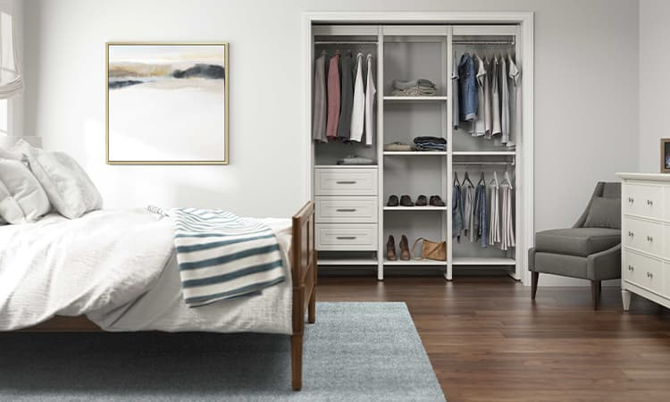 bedroom with custom closet