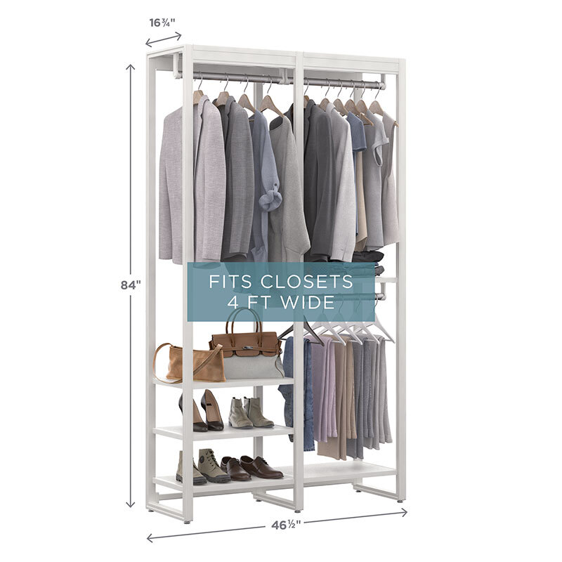closet system with extra hanging