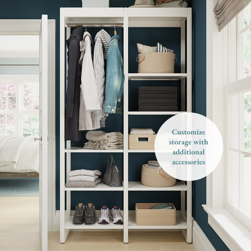 4-foot walk-in closet system with navy walls