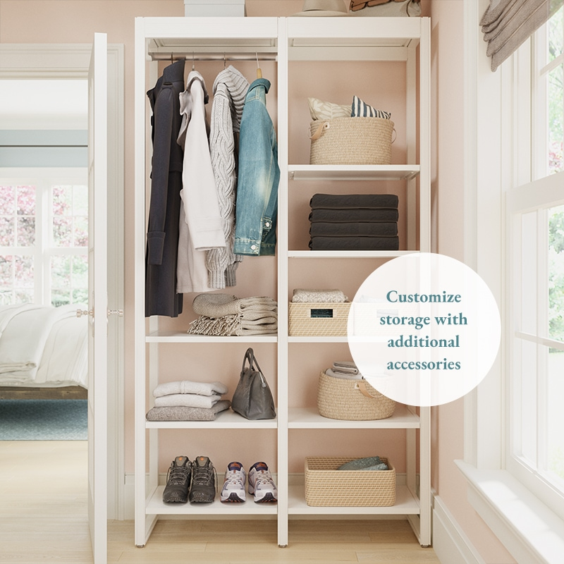 4-foot walk-in closet system with pink walls