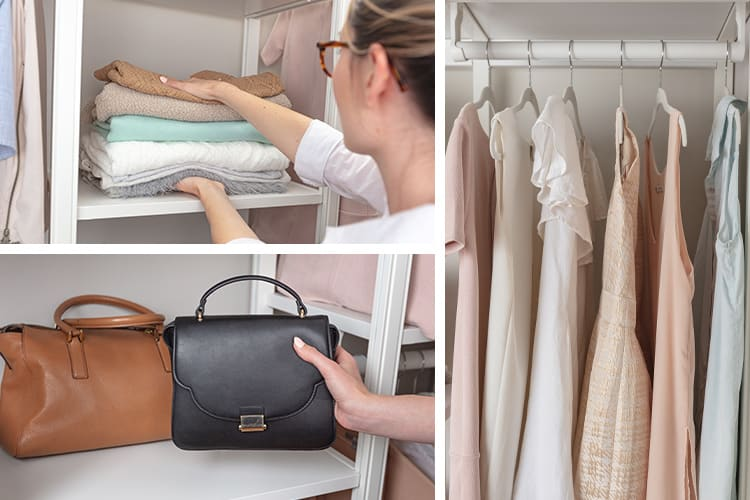 different customizable elements of the closet system