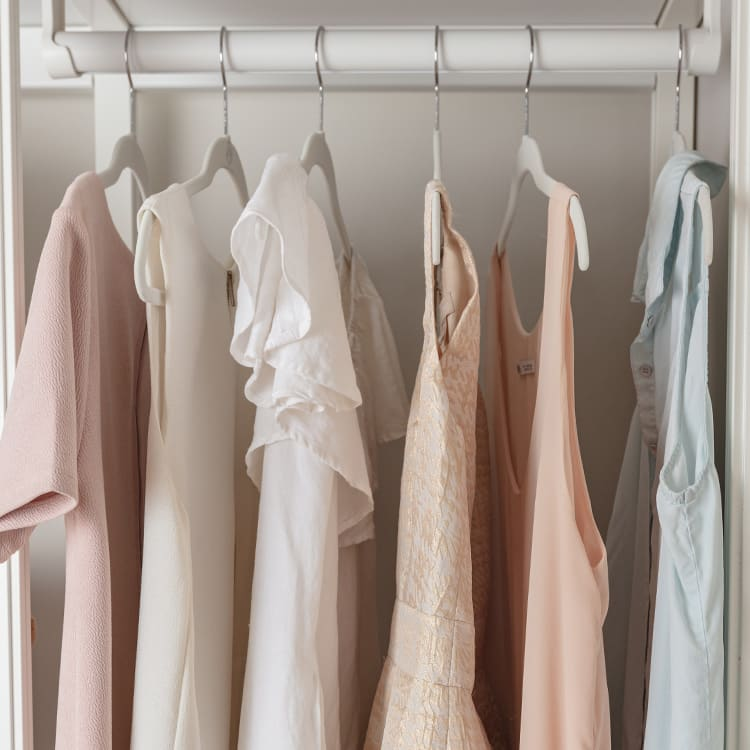 dresses on a hanging rack