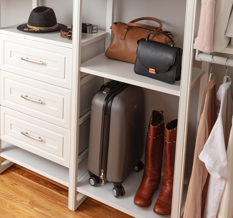 Suitcase, shoes, purse, and clothes in closet
