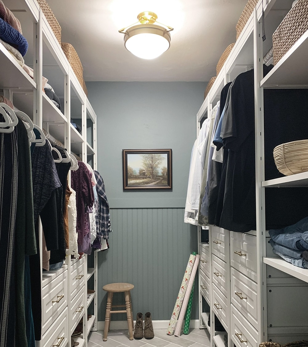 Walk-in closet with pendant light