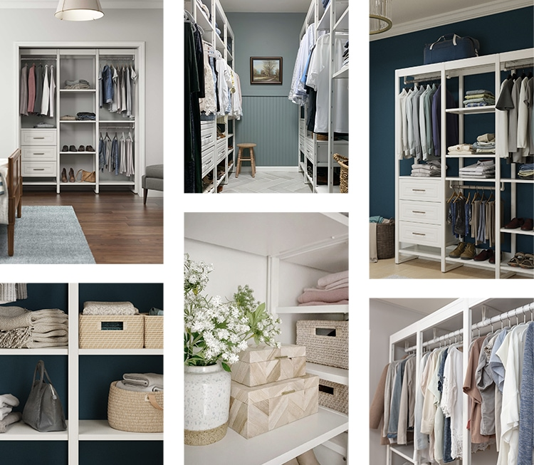 Closet mood board with cool colors