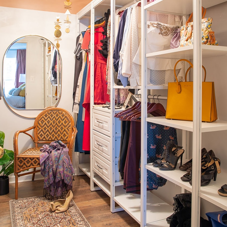 Modern boho-style his and her walk-in closet