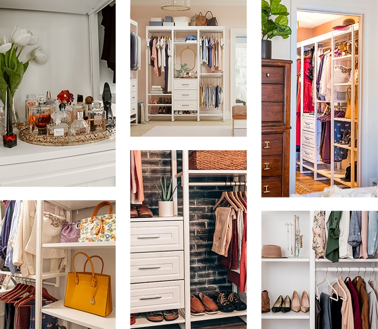 Closet mood board with warm colors