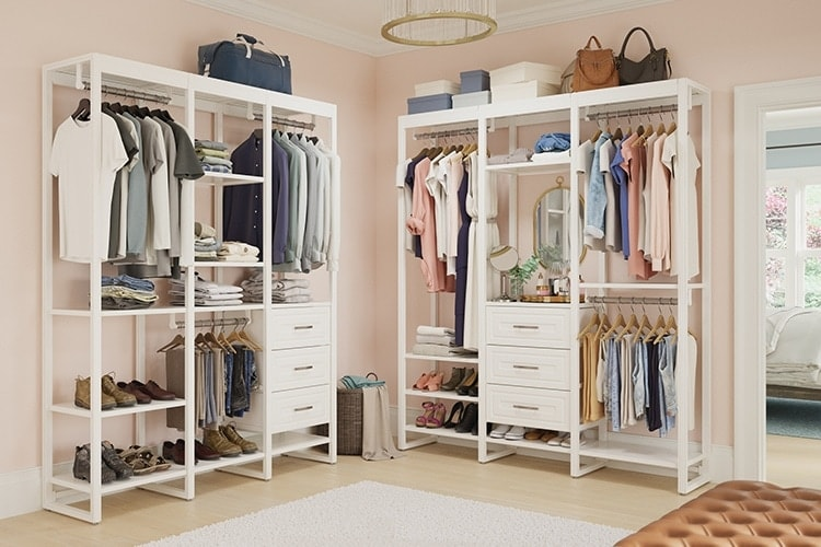 Walk-in closet with two 6-foot systems
