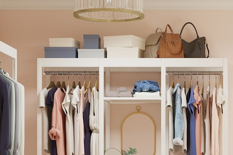 Items stored on top of closet system