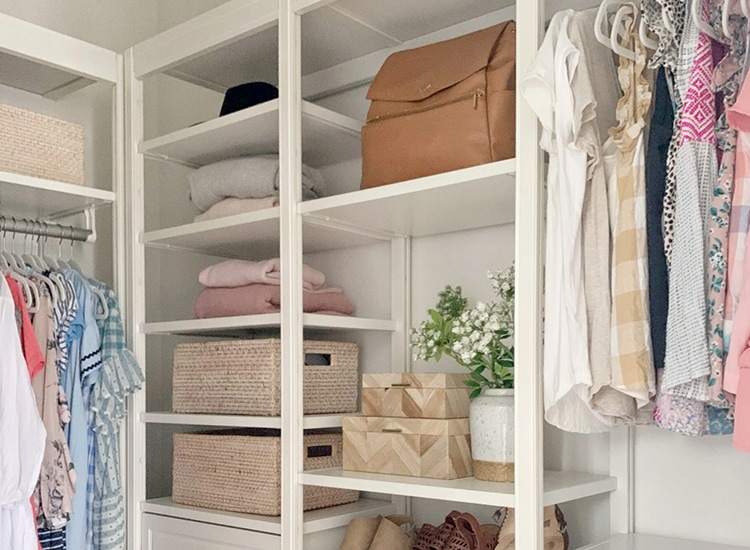 Closet system shelves with accessories