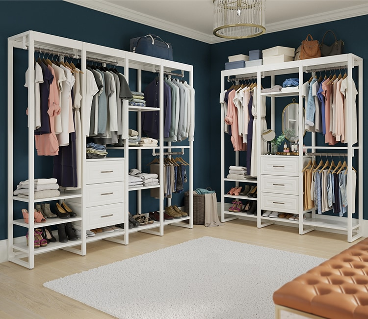 Two white 8-foot closet systems in walk-in closet