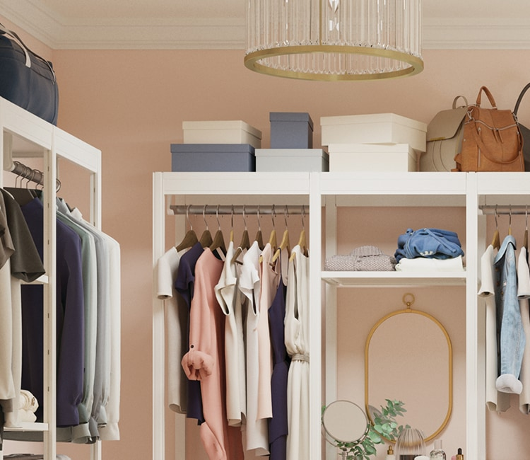 Boxes and handbags stored on top of closet system