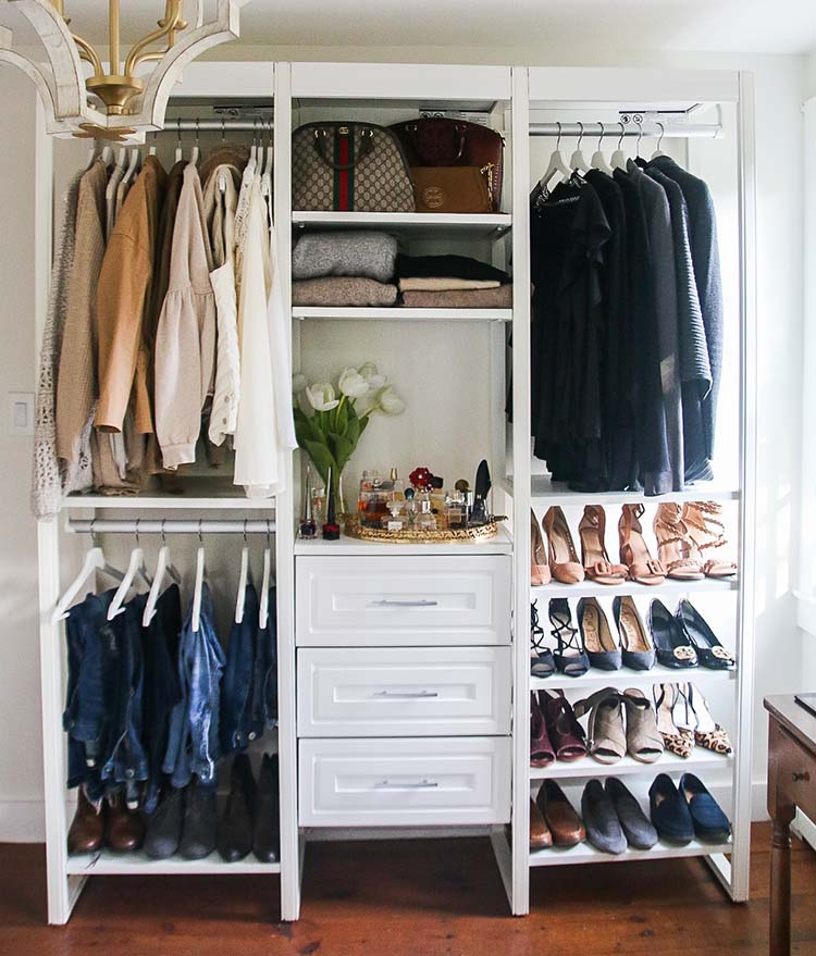 6-foot closet system with chandelier